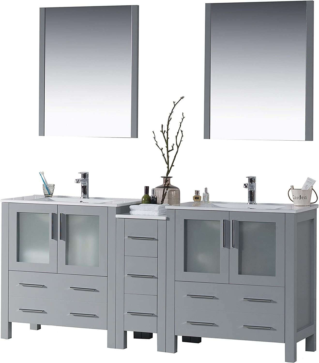 Amazon Com Blossom Sydney 72 Inches Double Sink Bathroom Vanity Side Cabinet Ceramic Sink With Mirror All Wood Metal Grey 001 72 15 D Kitchen Dining