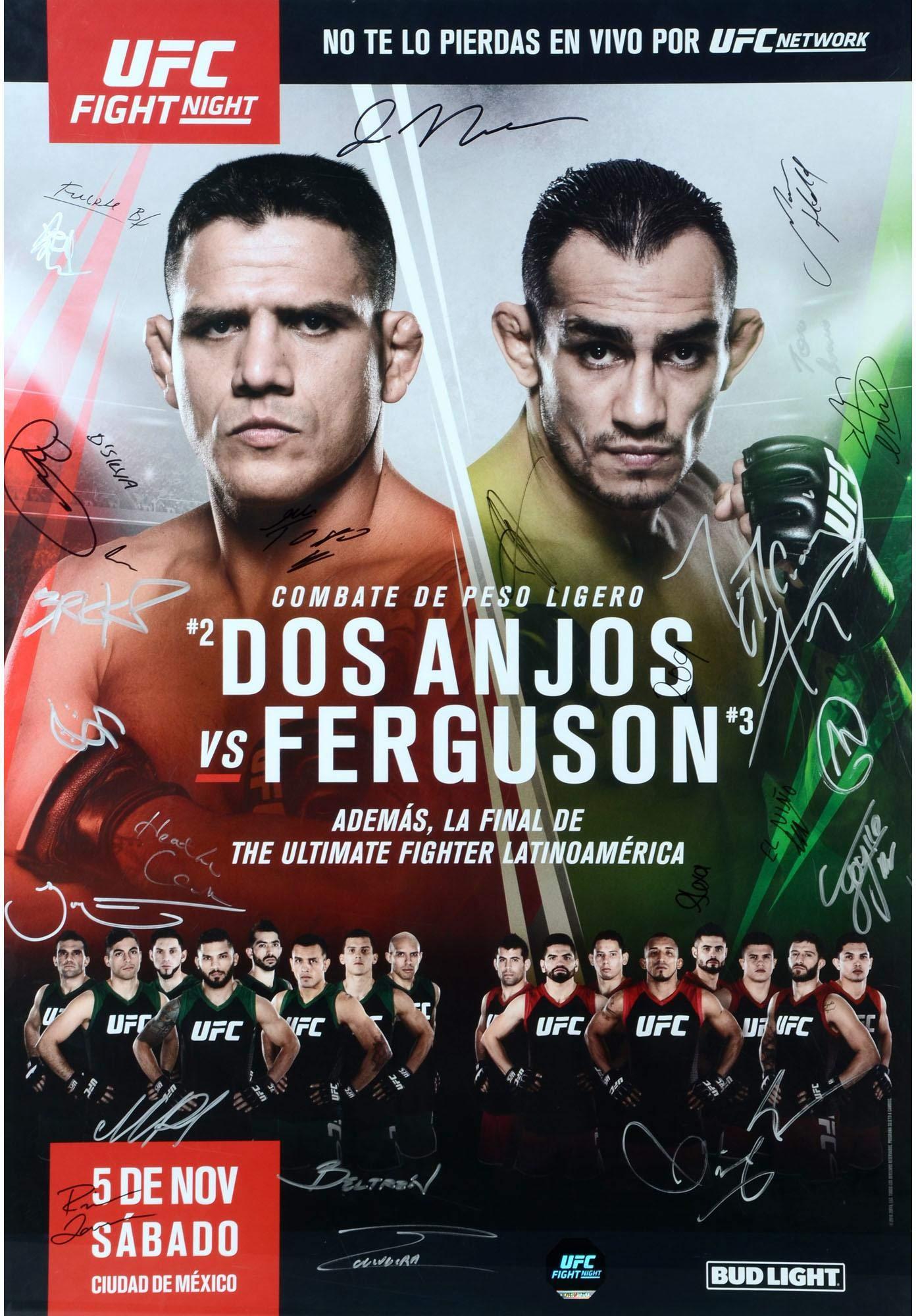 "The Ultimate Fighter Latin America Season 3 Finale Dos Anjos vs. Ferguson Autographed 27"" x 39"" 26 Signature Fight Poster Fanatics Authentic Certified"