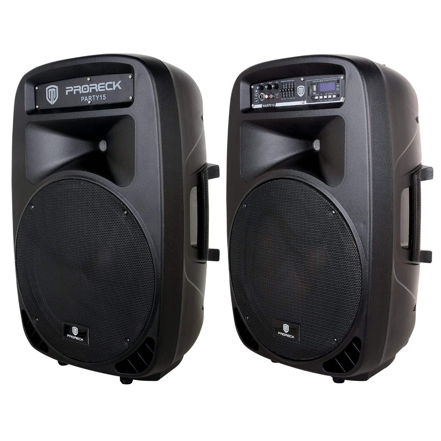 PRORECK PARTY 15 Portable 15-Inch 2000 Watt 2-Way Powered PA Speaker System Combo Set with Bluetooth/USB/SD Card Reader/ FM Radio/Remote Control/LED Light by PRORECK (Image #3)