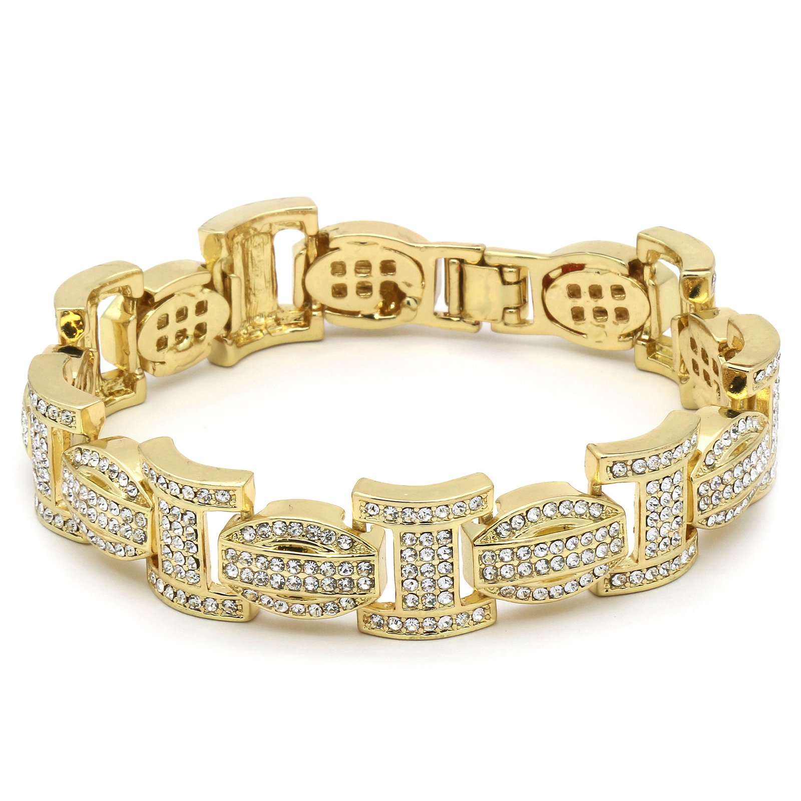 Mens Gold Tone I Thick Link Iced Out Clear Cz Stones Hip Hop Bracelet 9'' Inch