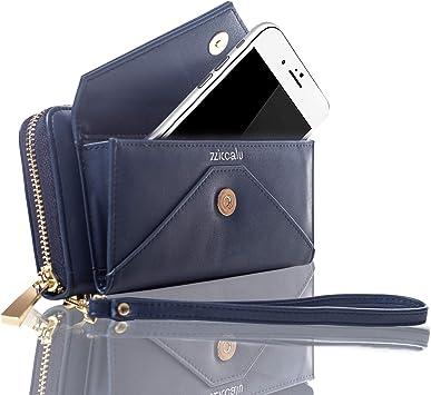 Poche Int/érieure Noir Convient aux Portables 5.5 Noir UTO Femme Portefeuille Porte-Cartes Blocage RFID Cuir Synth/étique Bracelet Grande Capacit/é 21 emplacements de Cartes