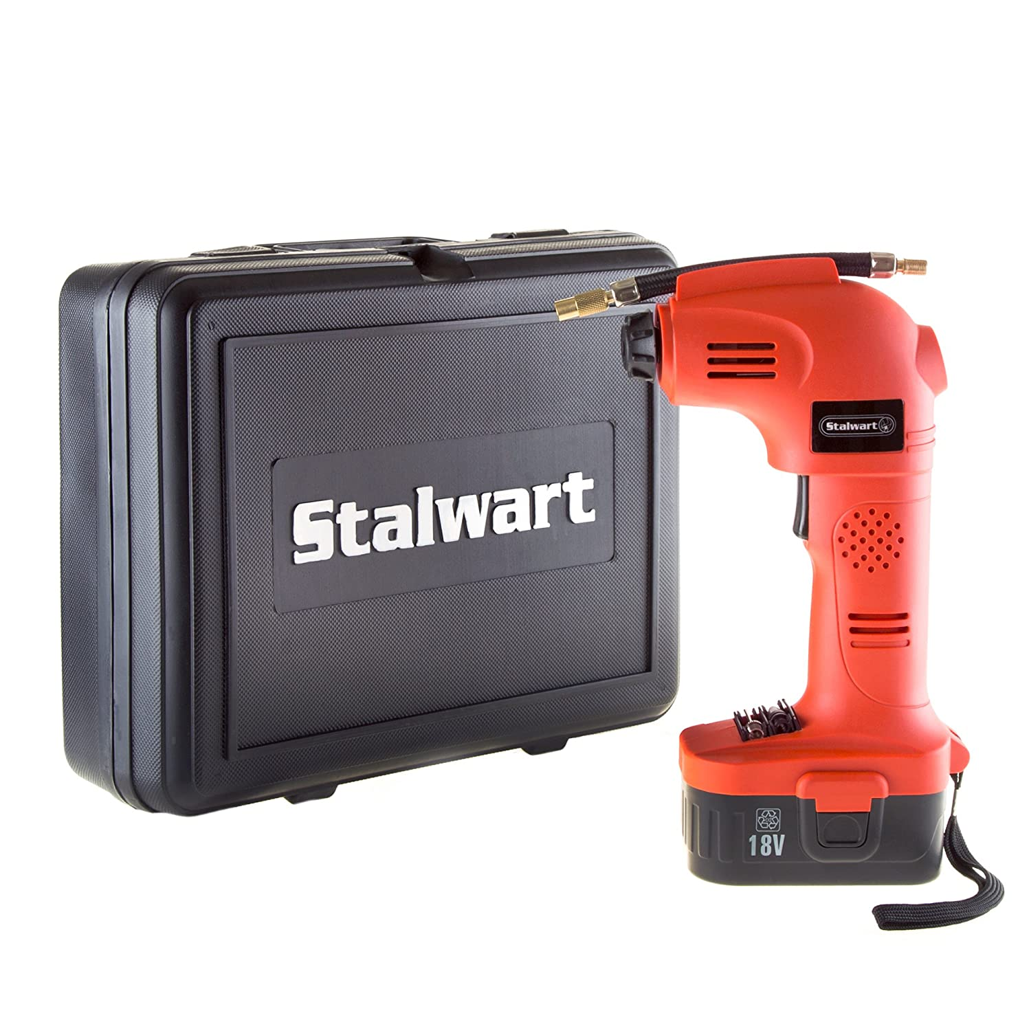 Cordless Air Compressor Portable Tire Inflator Rechargeable Handheld Emergency PSI/BAR Pump With Needles and Hose for Car Truck RV by Stalwart (18V) Trademark Global 75-PT1001