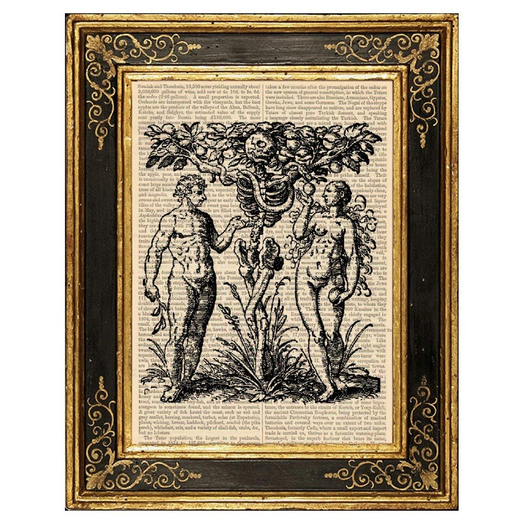 Tree of Knowledge of Good and Evil Upcycled Vintage Book Page Art Print 8x10 Unframed