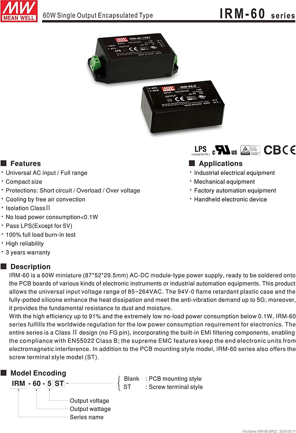 MW Mean Well IRM-60-12ST 12V 5A Miniature Encapsulated Type Green Open Frame Power Supplies
