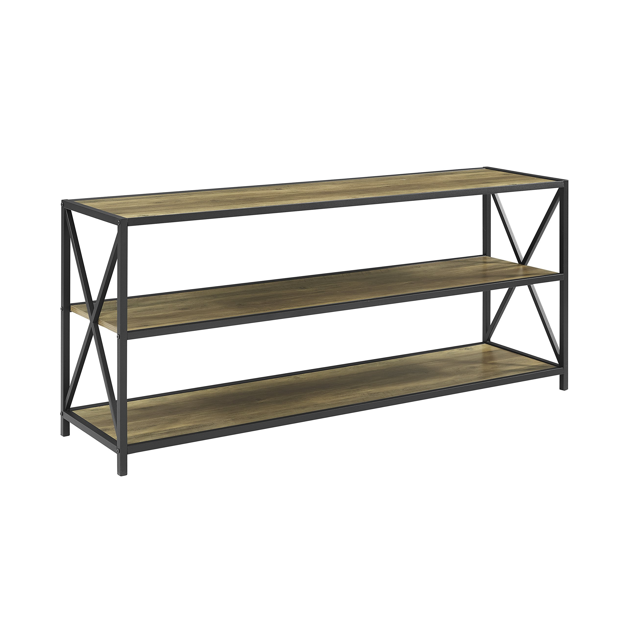 WE Furniture 60'' Wood Tall Entryway Table TV Stand Console 3 Tier Console Table, Rustic Oak and Black Metal Bookshelf Sofa Table for Living Room by WE Furniture