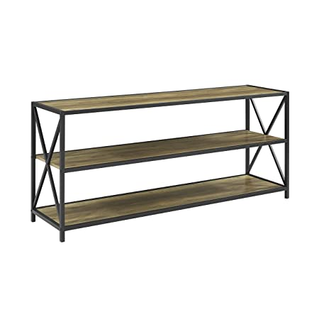 WE Furniture 60 Wood Tall Entryway Table TV Stand Console 3 Tier Console Table, Rustic Oak and Black Metal Bookshelf Sofa Table for Living Room