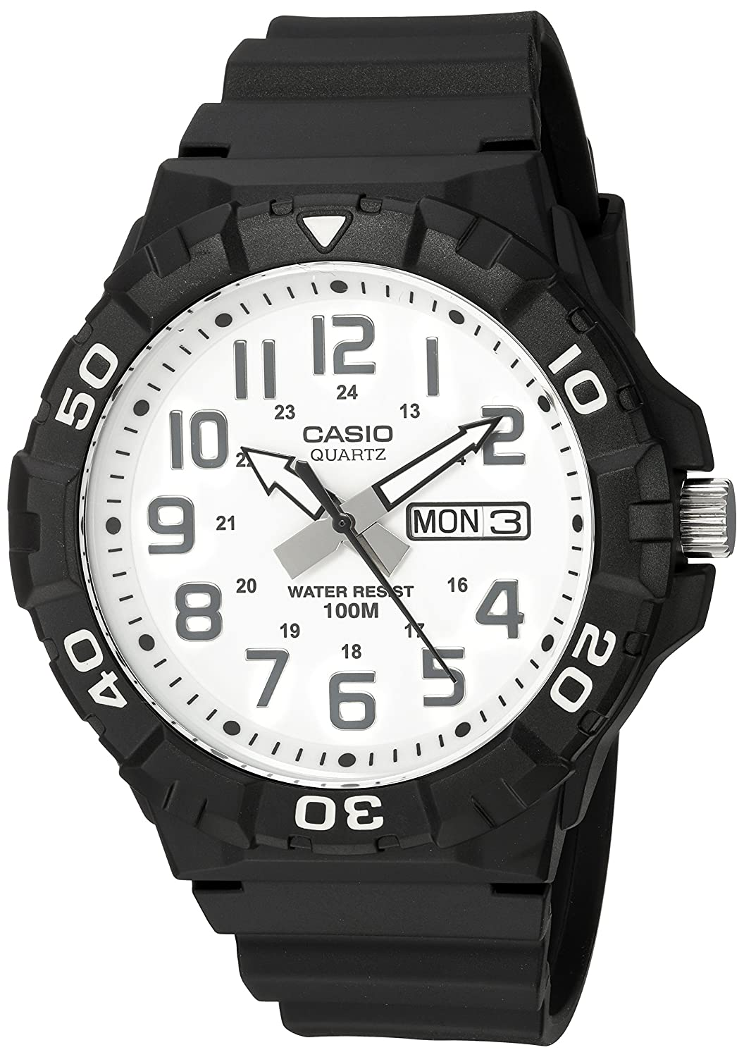 Casio Men s Diver Style Quartz Resin Casual Watch, Color Black Model MRW-210H-7AVCF