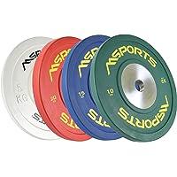 MSPORTS Olympia halterschijven, set van 2, professionele gatdiameter 51 mm, studiokwaliteit, gietijzer, met rubber…