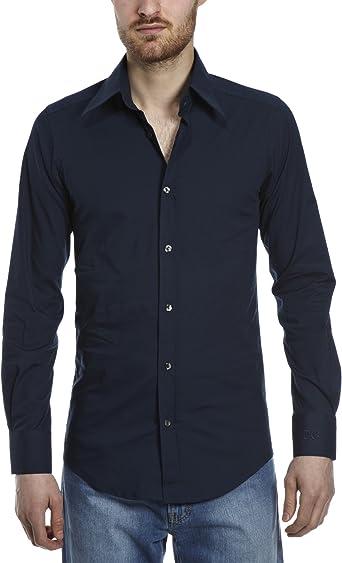 Dolce y Gabbana normal de manga larga cuello para hombre camiseta azul oscuro cuello tamaño 17, 5 Pulgadas: Amazon.es: Ropa y accesorios