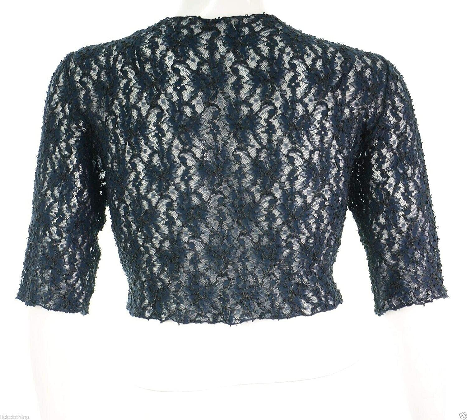 UK Dispatch Gorgeous New Midnight Blue Stretch Lace Short Sleeve Shrug Bolero Top Plus Size