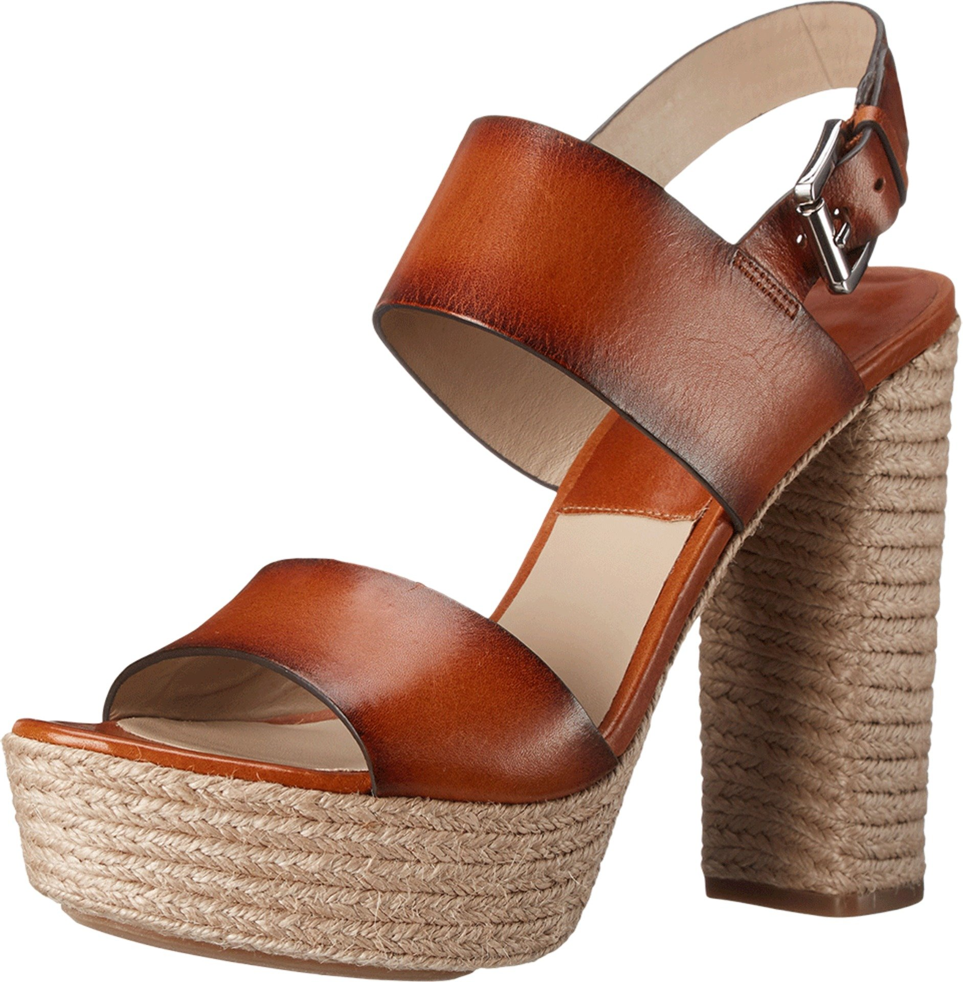 Michael Kors Women's Summer Luggage Burnished Vachetta/Jute Sandal 38.5 (US Women's 8.5) M