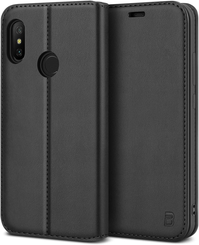 BEZ Funda Xiaomi Mi A2 Lite, Carcasa Funda Piel con Carcasa Interna de TPU Compatible para Xiaomi Mi A2 Lite, Libro de Cuero con Tapa y Cartera, Cierre Magnético, Negro