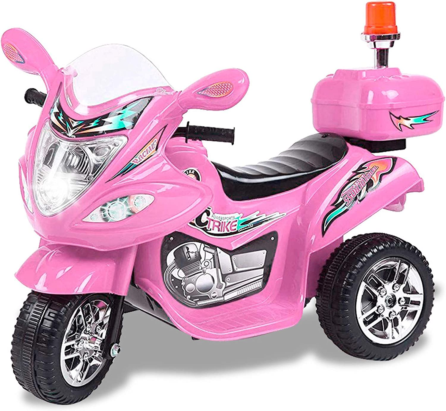 Tamco Motorcycle Ride On Toy with Flash Alarm Light, Electric Power Tricycle with Foot Pedal, 7 Colors Flashlight Front Light, Music & Honk, Super Easy Driving for Kids Max Load 45LB (Pink)