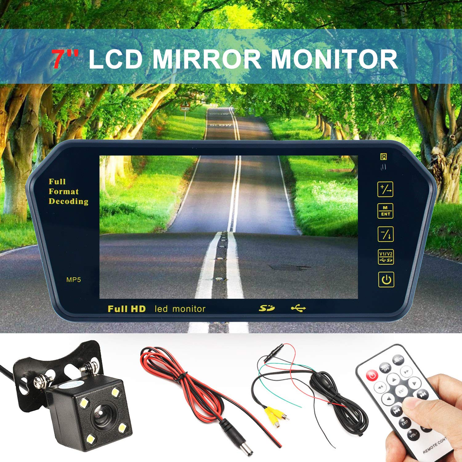 YaeKoo 7' LCD Wireless Backup Camera, Car Reverse Camera with Easy Installation Rear View Mirror Yaemart Corportation