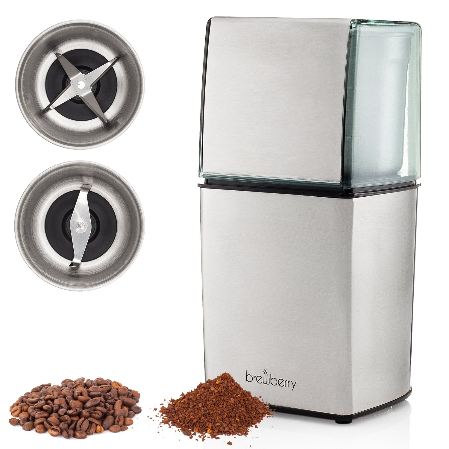 Brewberry Elite Series Electric Coffee Grinder, Espresso and Coffee Mill, Grinds Seeds, Spices, Coffee Beans, Nuts, Herbs and Beans, 2 High Precision Blades and 2 Removable Stainless Steel Cups
