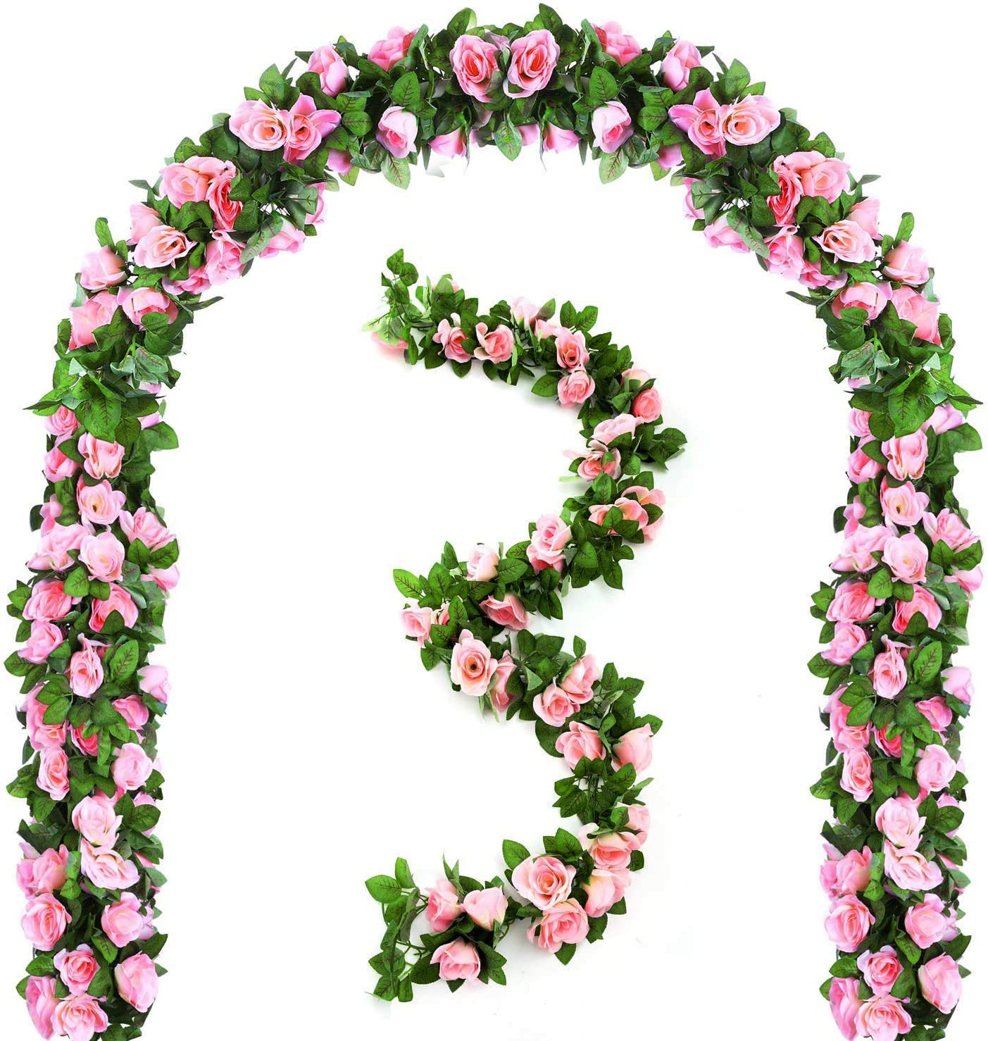 Pink Mazheny 2 Pack 6.5 FT Artificial Flowers Rose Vine Plants Hanging Rose Ivy Wedding Garland Greenery Home Hotel Office Party Garden Craft Art Decor