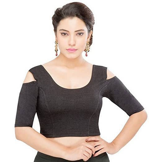 Amazon Com Saris And Things Black Cold Shoulder Stretchable Saree