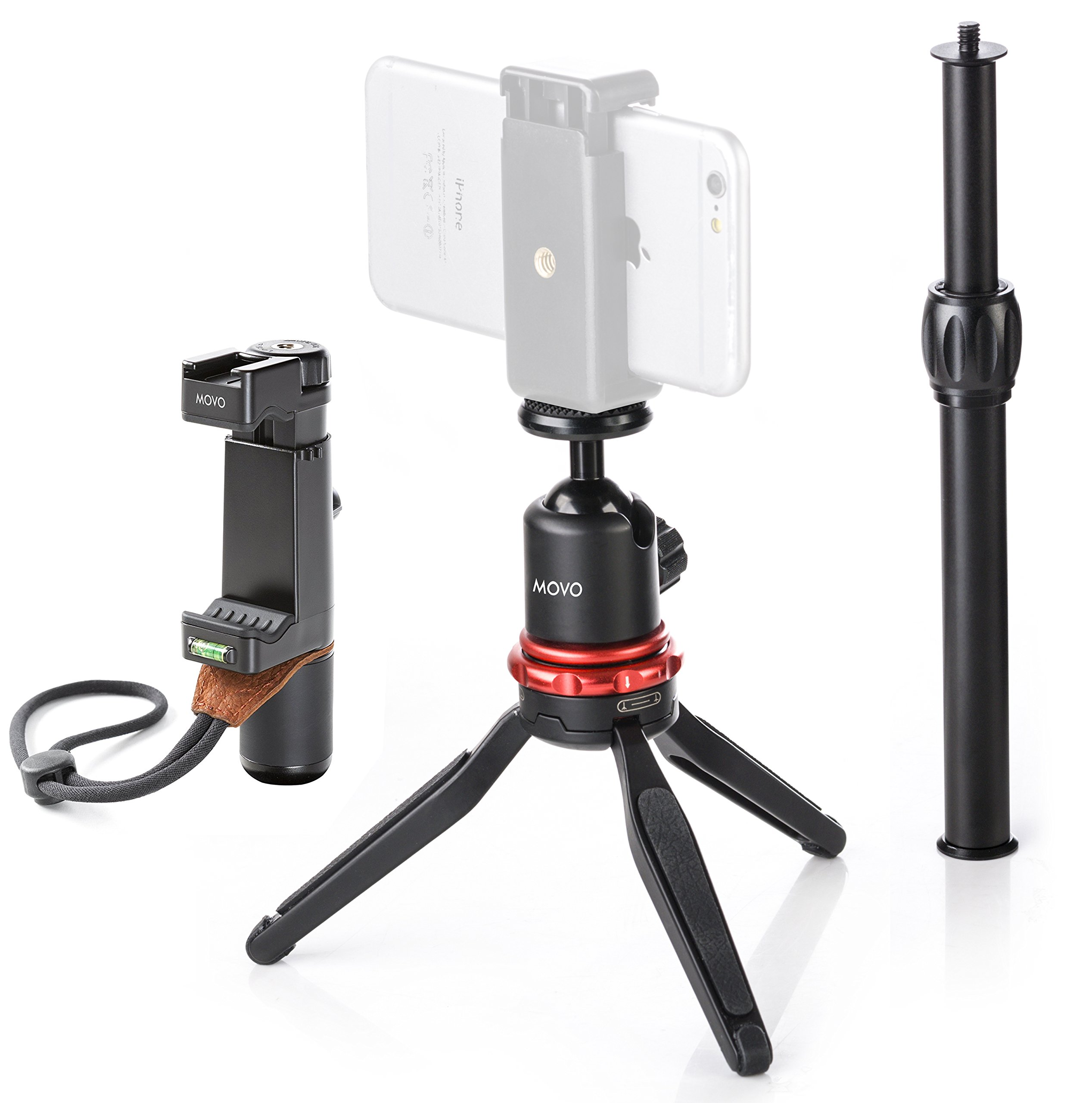 Movo MV-T1 Aluminum Alloy Tabletop Tripod with Adjustable Ball Head, Expandable Shaft with The Universal Smartphone Grip for iPhone 5, 5C, 5S, 6, 6S, 7, 8, X, XS, XS Max, 11, 11 Pro, Samsung Galaxy by Movo