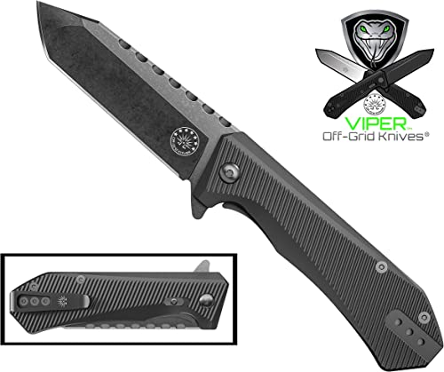 Off-Grid Knives – Viper EDC – Bolher K110 Premium D2 Tool Steel Tanto, Grippy G10 Scales, Safety Grid-Lock, Left or Right Deep Carry OG Clip, Ceramic Ball Bearing Manual Flipper