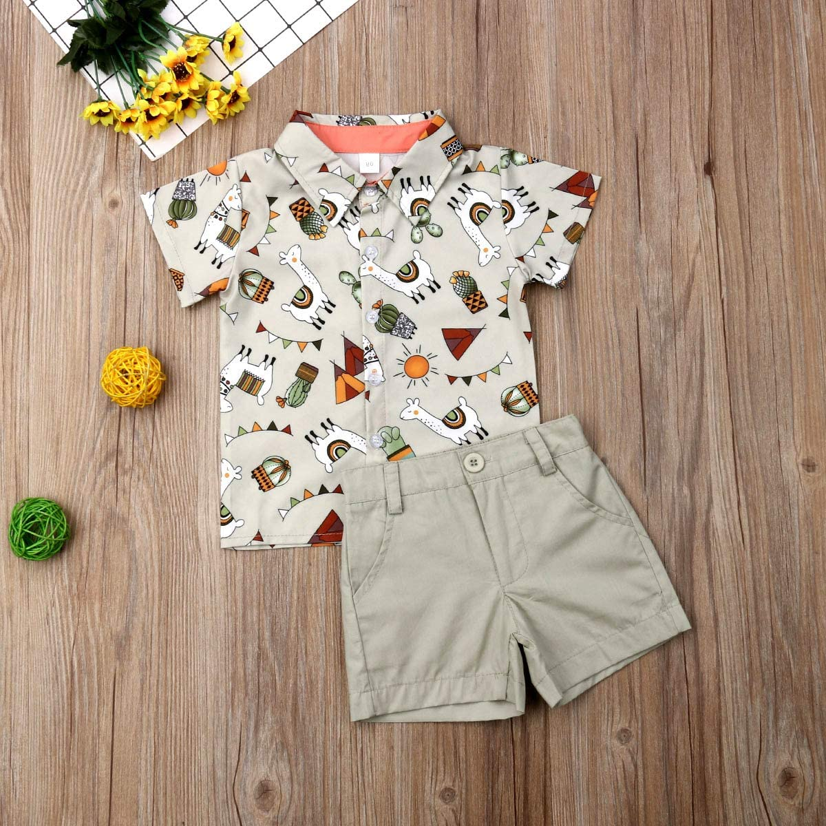 Shorts Set Toddler Baby Boys Summer Print Shirt Outfits Clothes Short Sleeve Button Down Tops