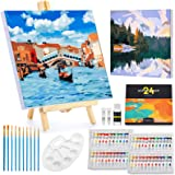 Magicfly Paint by Number for Adult, Acrylic Painting by Number with 2 PCS Framed Canvas and 1 PCS Wooden Easel, DIY Color Pai