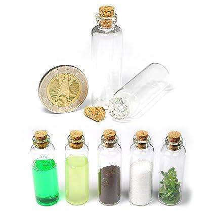 Ganzoo - Lote de 20 mini botellas decorativas (cristal con corcho, 5 ml)