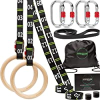 """awegym Gymnastics Rings with Adjustable Straps, 1.1"""" Olympic Rings, Gym Rings for Full Body Workout, Calisthenics Rings…"""
