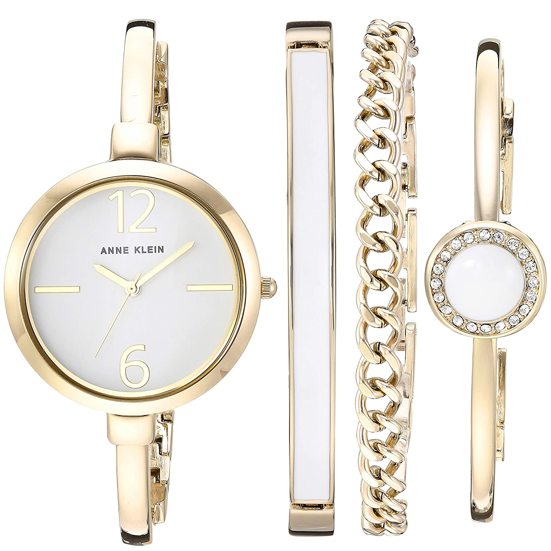 And Accented Set Crystal Watch Klein Anne Bangle Swarovski Bracelet Women's QBredCxWo