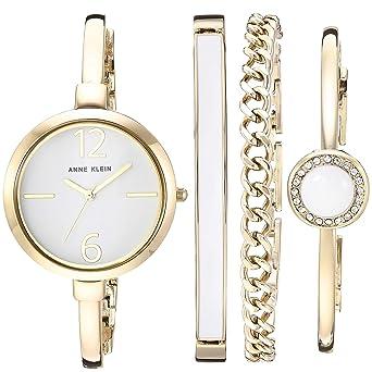496fe9a72 Amazon.com: Anne Klein Women's AK/3290WTST Gold-Tone Bangle Watch and  Bracelet Set: Watches