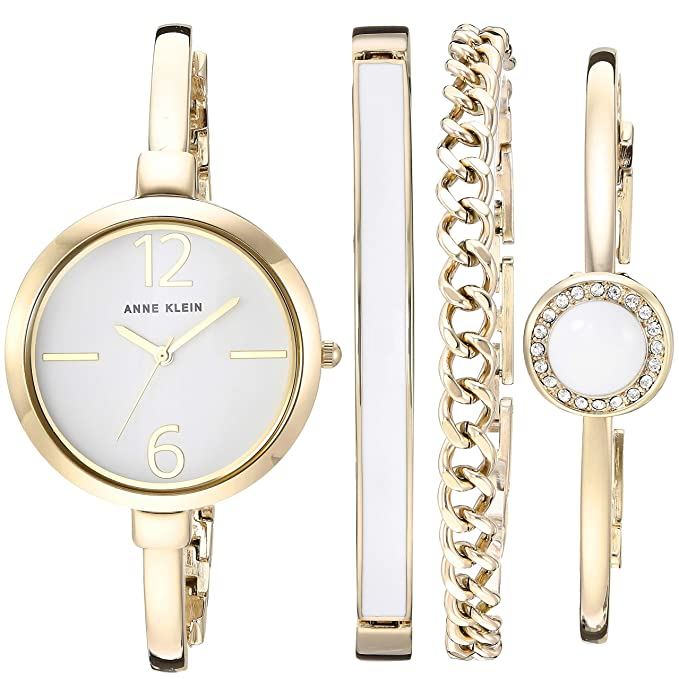 Women's Bangle Watch and Swarovski Crystal Accented Bracelet Set