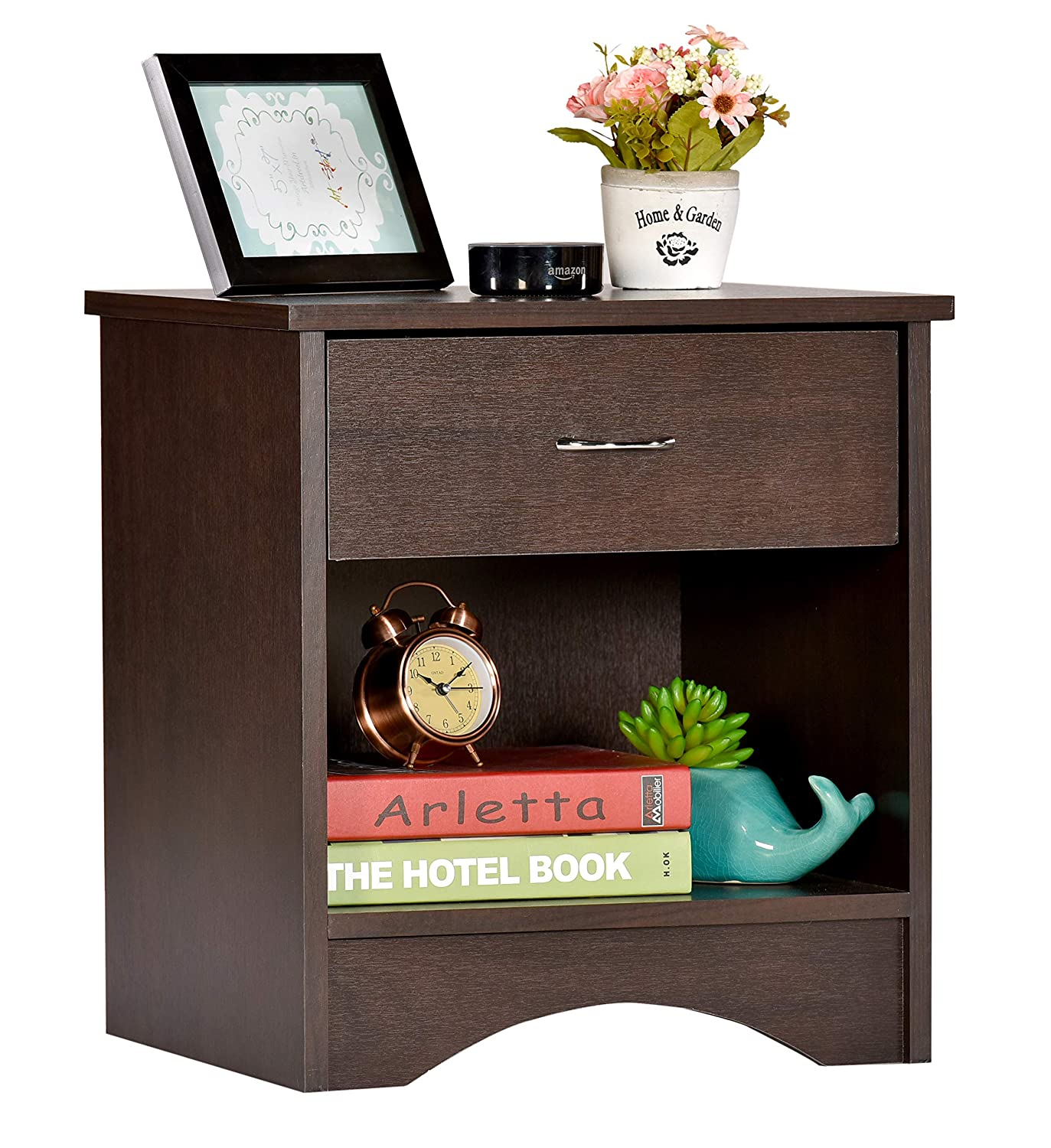 Deckup Bei Bedside Table And End Table With Storage (Dark
