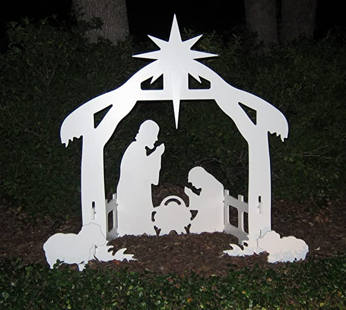 Teak Isle Christmas Outdoor Nativity Set, Yard Nativity Scene - Large Christmas Decoration