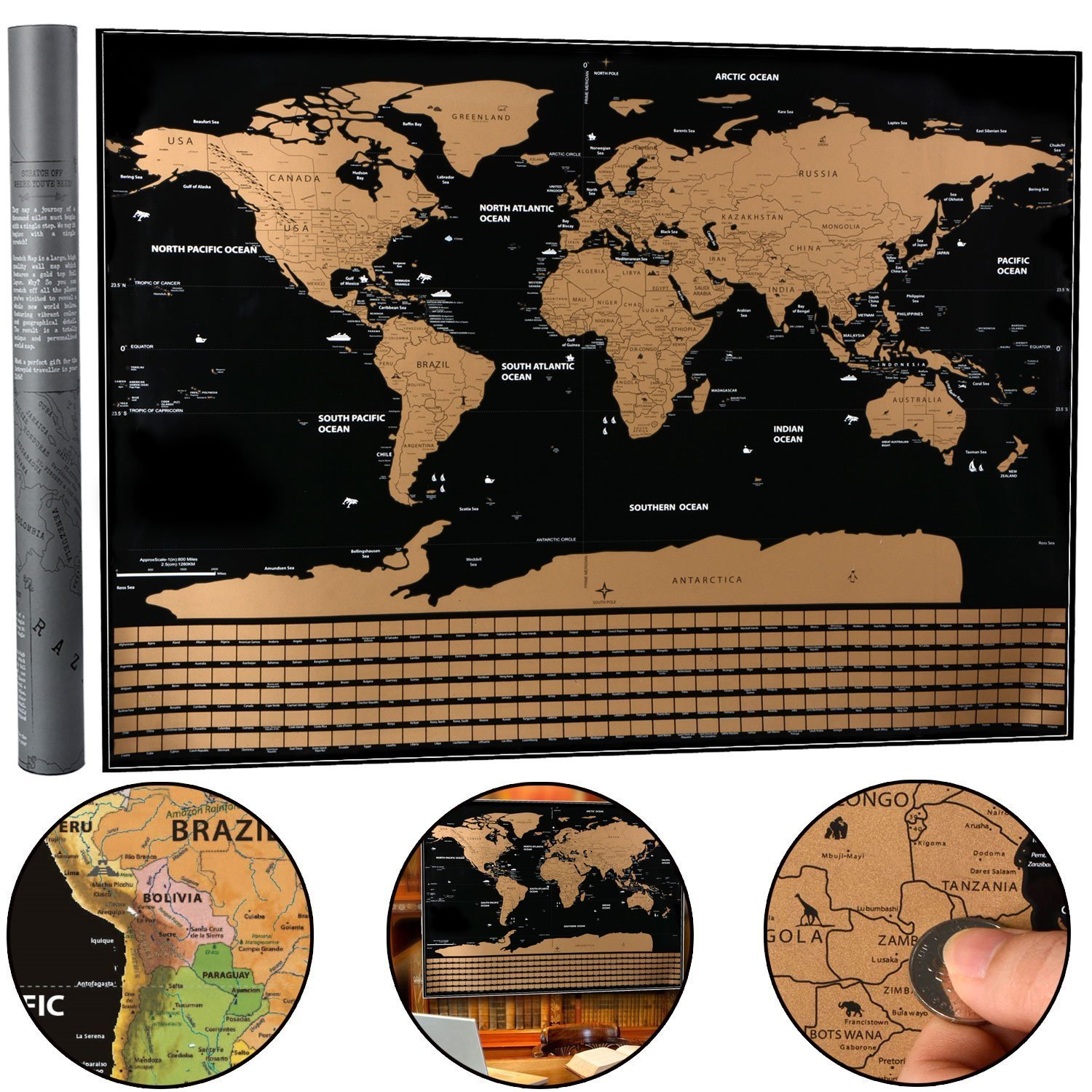 Scratch Off World Map - Moonvvin Travel Scratch Map Black and Gold Deluxe Edition,Bright Colors Premium Artwork Poster for Home Decor