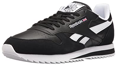 00a18206a Reebok Men s CL Leather Ripple Low BP Fashion Sneaker, Black White, .