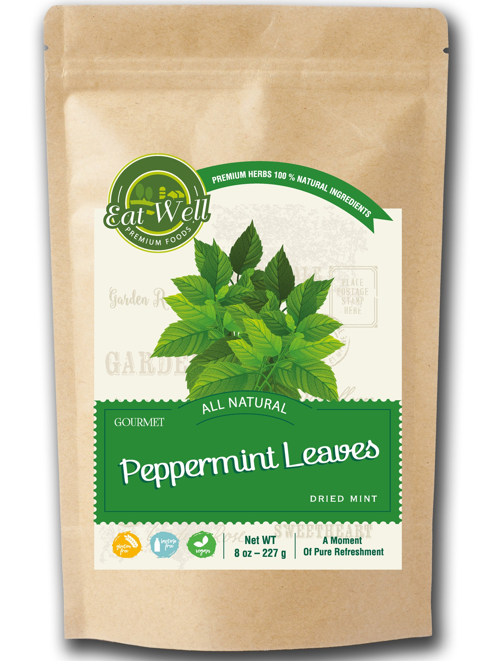 Crushed Mint Leaves | 8 oz Reseable Bag, Bulk | Cut & Sifted, Culinary Dried Mint Leaf | Crushed Peppermint Tea | Menta Piperita | by Eat Well Premium Foods