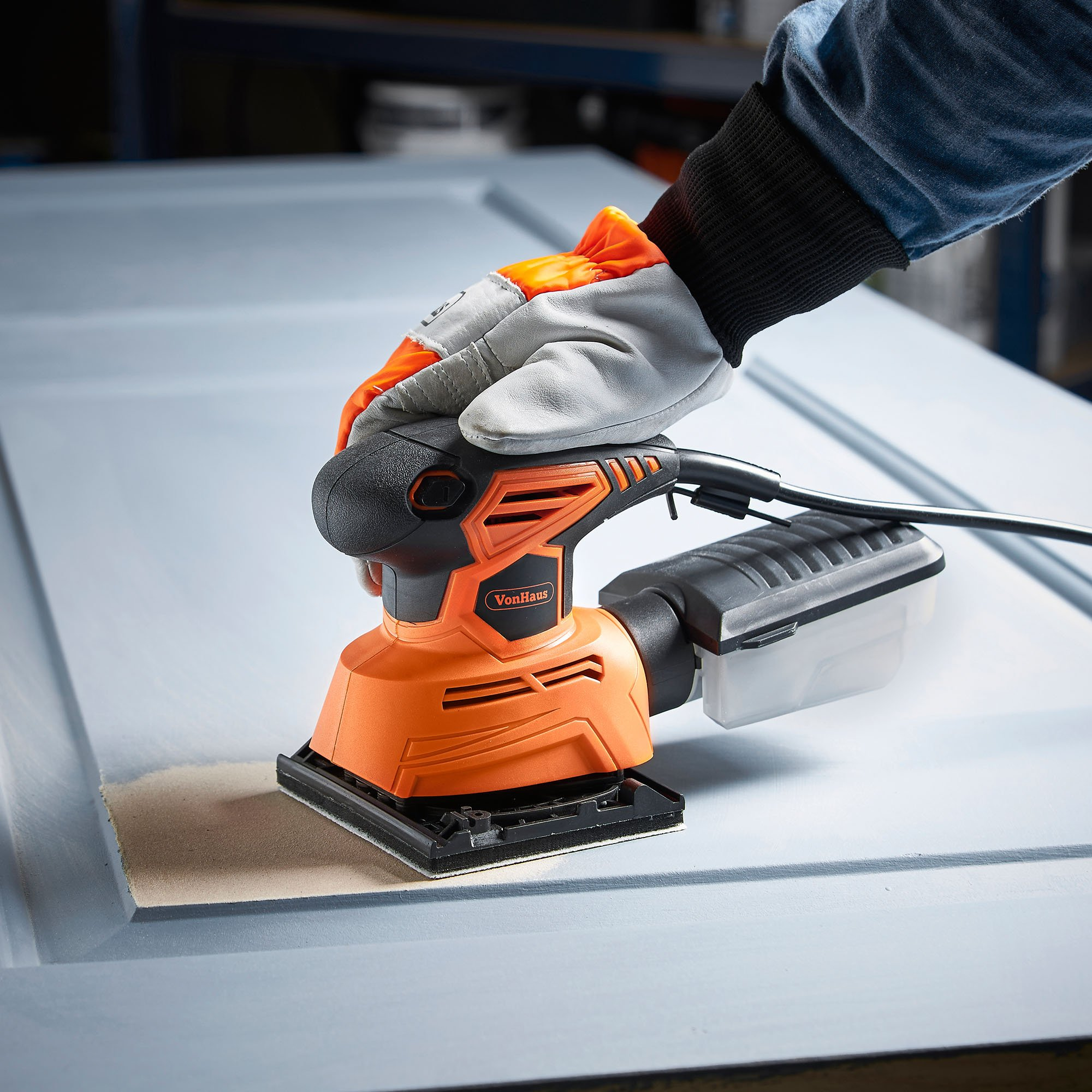 VonHaus 1.1A 2 in 1 Sheet & Detail Sander - 14000 RPM with 6 Sanding Sheets Included - Multi-Use, Compact Lightweight Design with Dust Extraction System and 6ft Power Cord by VonHaus (Image #3)