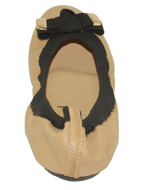 Betani Womens Doris-4 Comfy Foldable Bowed Slip-on Ballet Flats