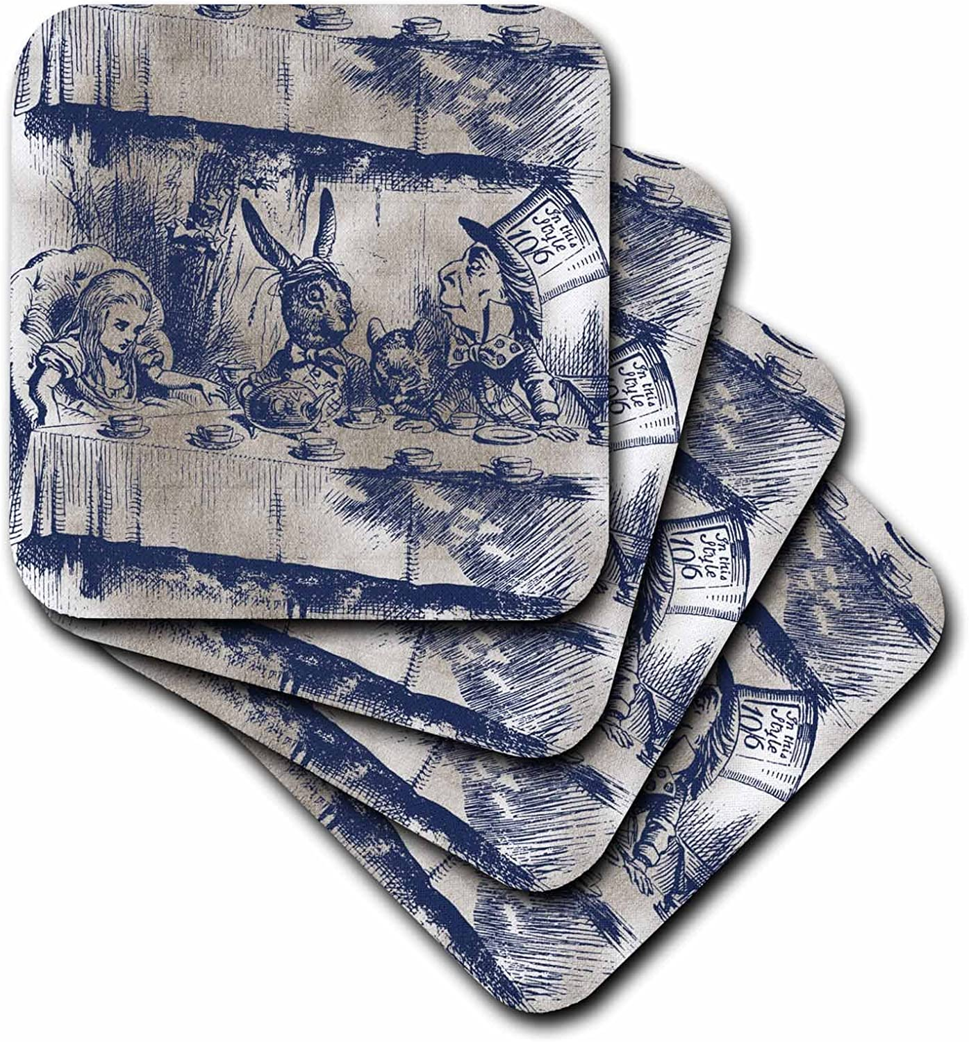 3dRose CST_110203_1 Alice in Wonderland Tea Party with Mad Hatter Soft Coasters, Set of 4