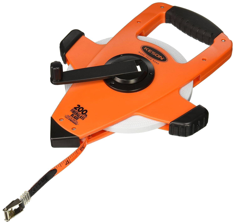 Speed Rewind Keson OTRS1810200 Fiberglass Measuring Tape with Double Hook 200-Foot Graduation: ft, in, 1//8 /& ft, 1//10, 1//100