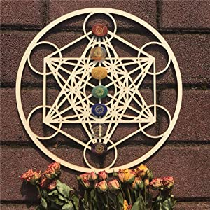 """11.5"""" Metatron's Cube Wooden Crystal Grid (Stone not Included) Sacred Geometry Meditation Wall Art Decor & Zen Home Decor – Wooden Wall Sculpture"""