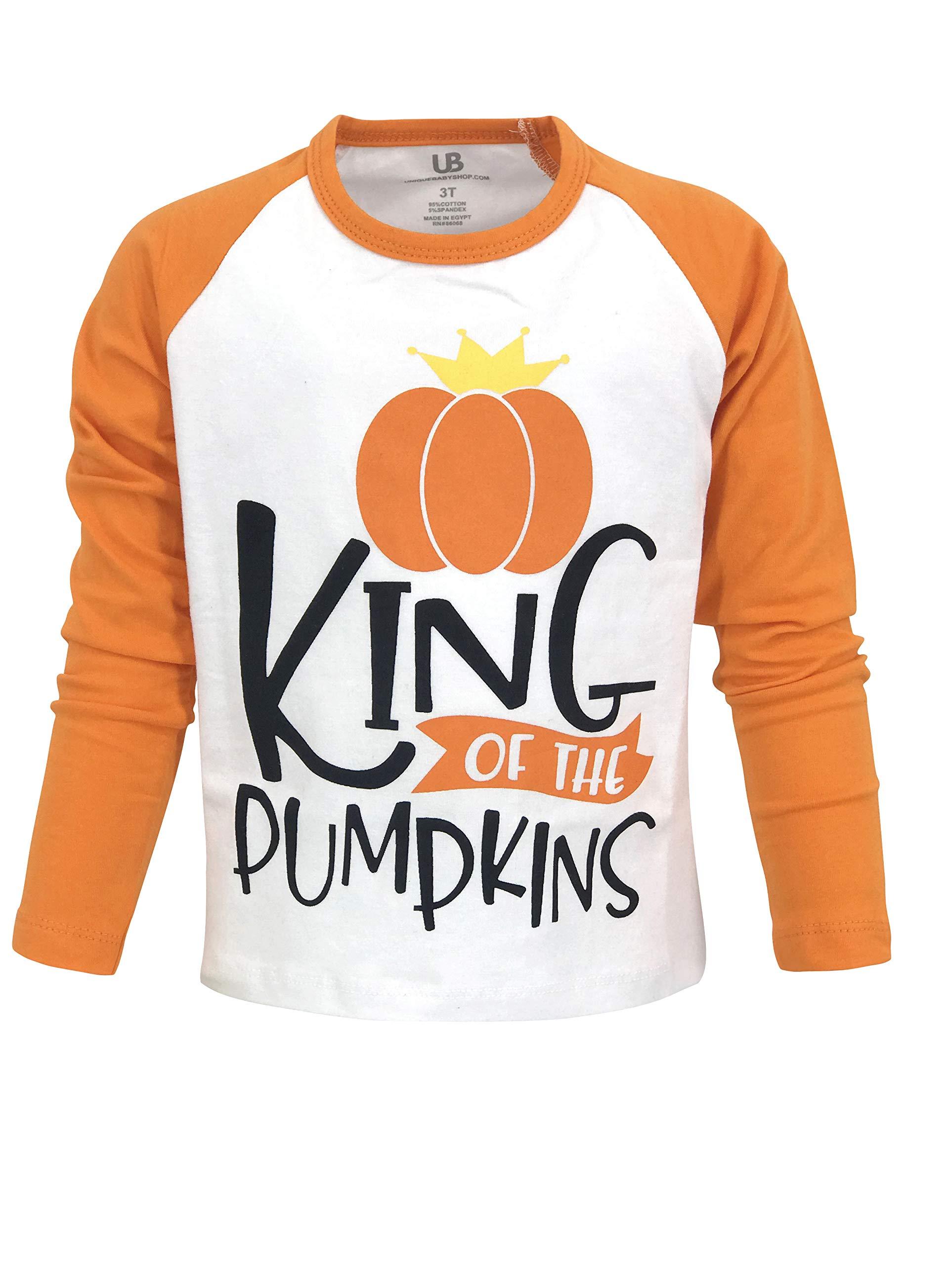Unique Baby Boys Pumpkin King Halloween Thanksgiving Raglan Shirt (4t)