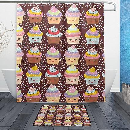 Baihuishop Cupcake Kawaii Funny Juego De Bano 4 Piezas Se Puede