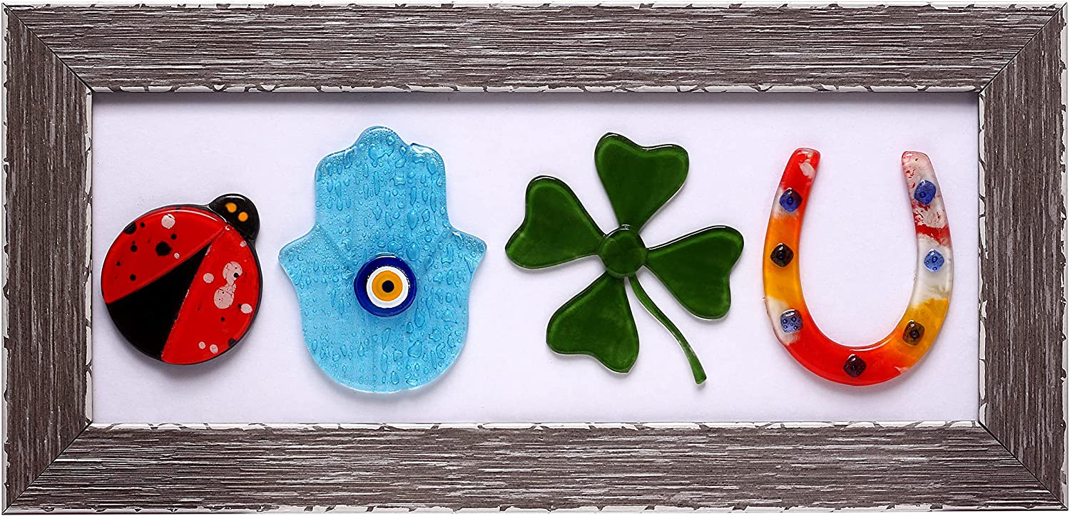 Lucky Symbol Amulet Framed Wall Decoration With Handmade Glass Ladybug, Hamsa Hand, Four Leaf Clover and Horseshoe - Modern Farmhouse Decor With Solid Wood Frame Wooden Wall Art 14 x 6.5 Inch