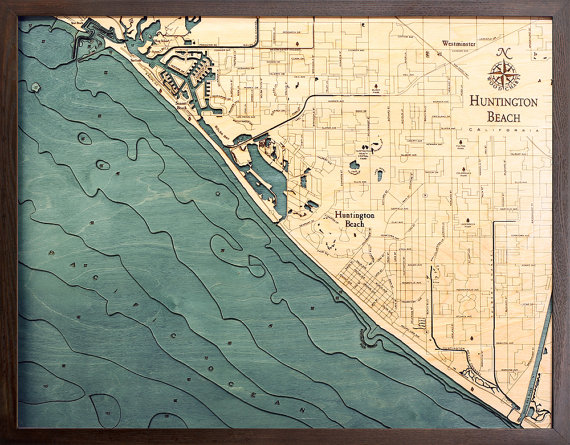 HUNTINGTON BEACH CA 24.5 x 31 Laser-Cut by LakeMapsInk on Etsy