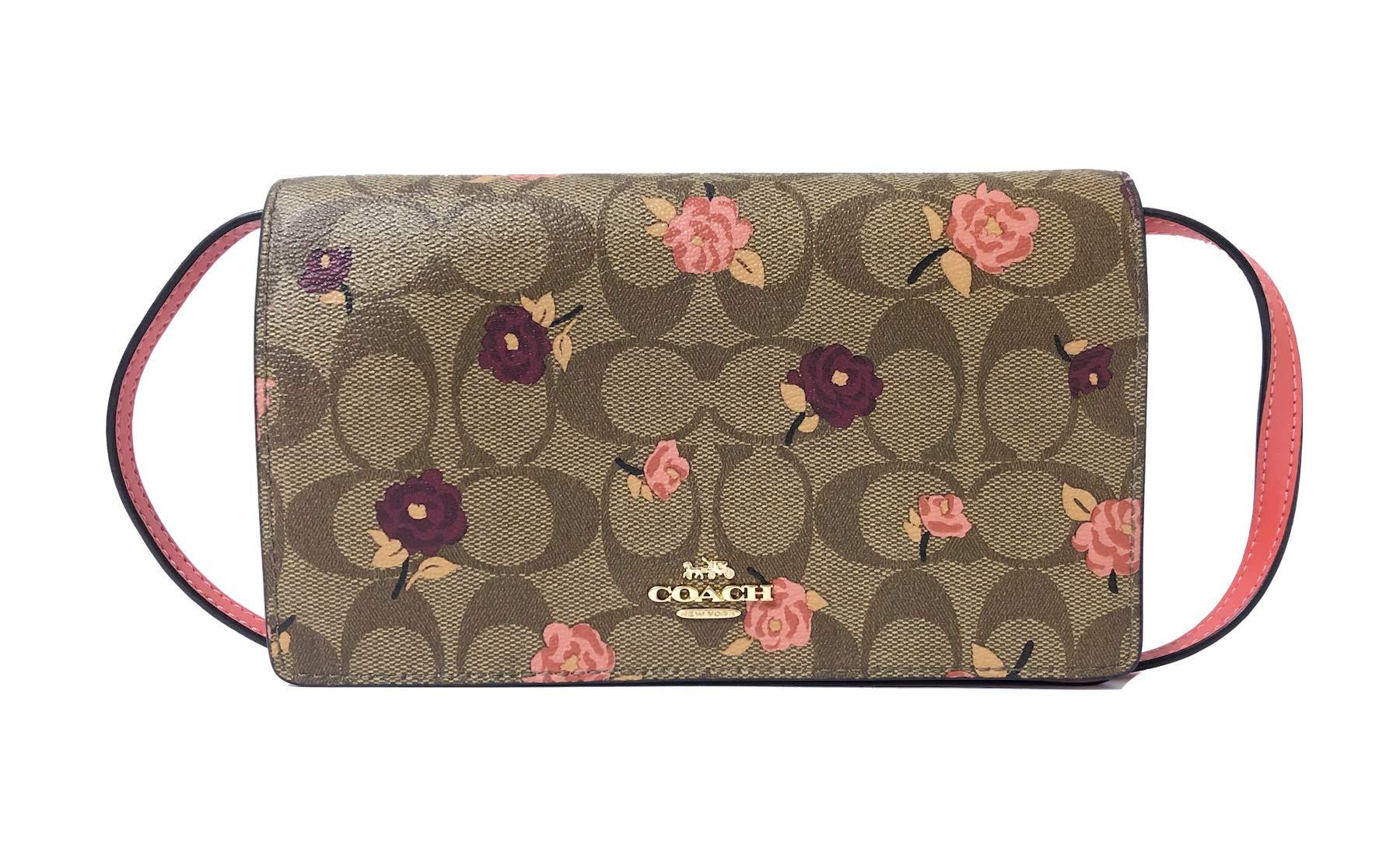 Coach Foldover Clutch Wallet Pebbled Leather Crossbody Bag F30256 (IM/Khaki Pink Multi)