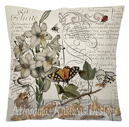 French Pillow Cover 100/% Cotton Canvas /& Burlap Butterflies Flower on Vintage French Script Stamps Decorative Throw Pillow Cover Euro Sham