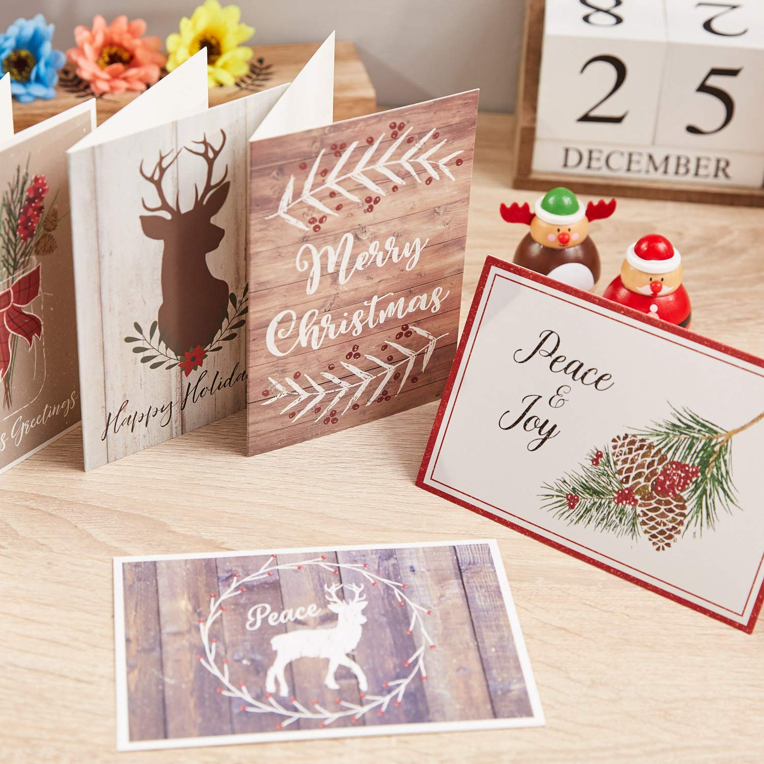 4 x 6 In, 48 Pack 6 Designs Rustic Christmas Cards Assortment with Envelopes