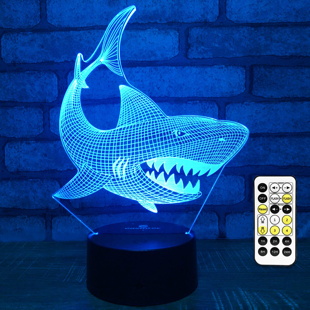 Easuntec Baby Shark Toys,Baby Shark Party Supplies 3D Night Light with Timer Remote Control & Smart Touch 7 Colors Birthday Gifts for Boys Age 2 3 4 5 6 7 8 9 Year Old Boy Gifts (Shark)