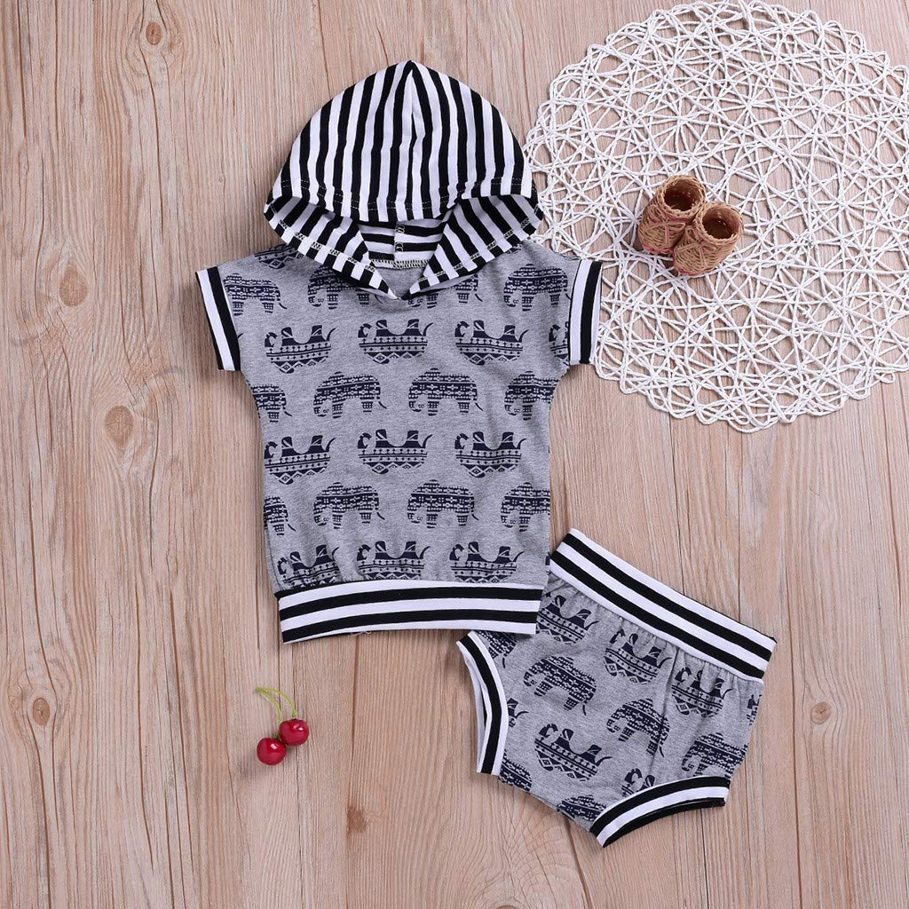 12-18 Months, Gray 2pcs Baby Boy Pajama Set,Children Kids Summer Cartoon Dinosaur Print Tops T-Shirt+Shorts,