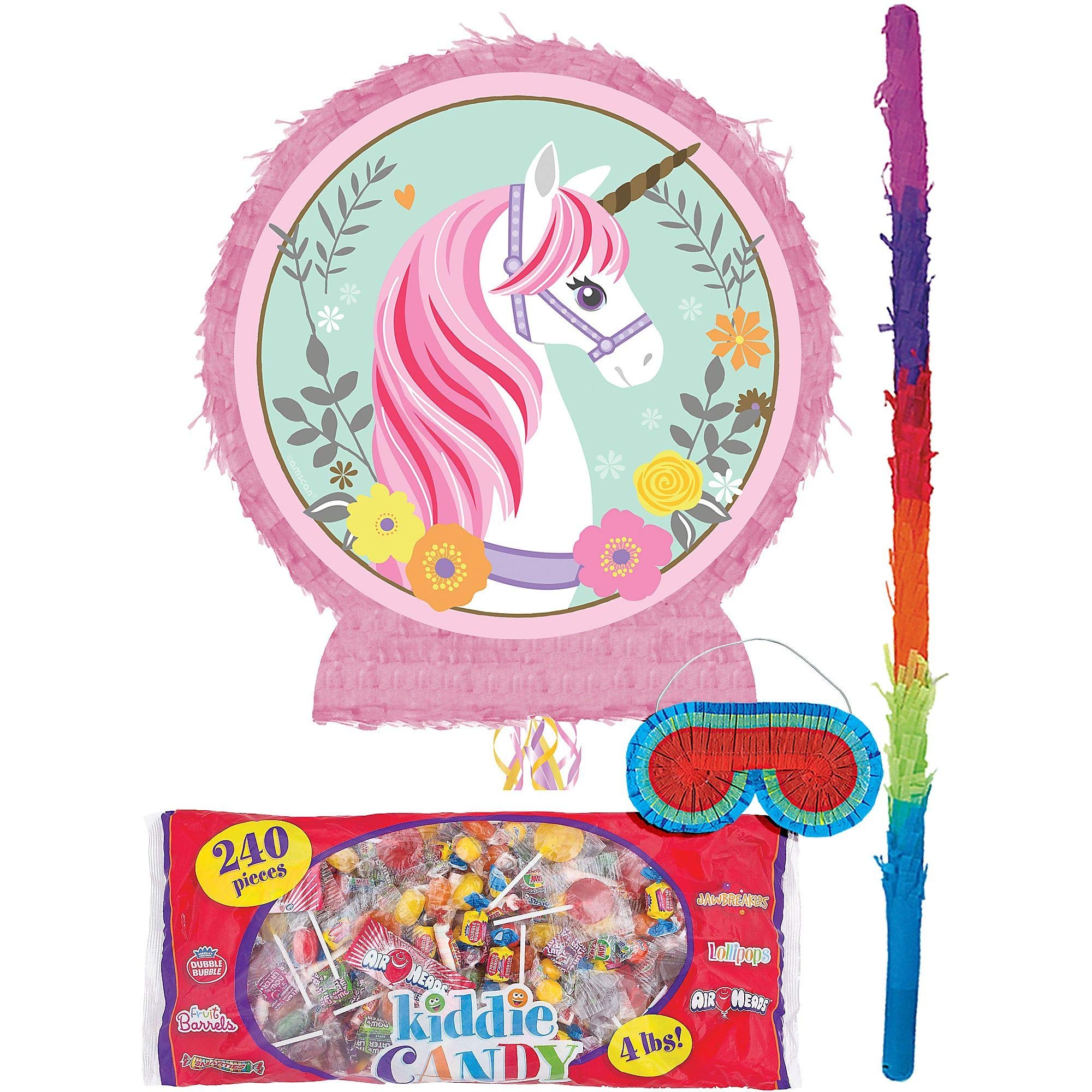 Party City Magical Unicorn Pinata Kit for Birthday Party, Includes Bat, Blindfold and Kiddie Candy Mix (4lb bag)